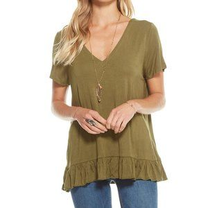 CHASER Strappy Double V Peplum Tee